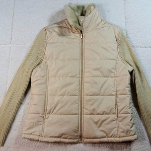 Coldwater Creek Puffy Coat w/Knit Sleeves Large